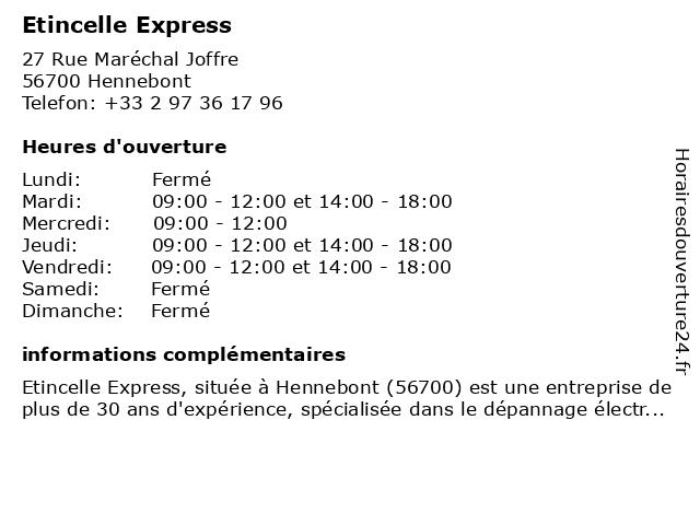 Etincelle Express à Hennebont: adresse et heures d'ouverture