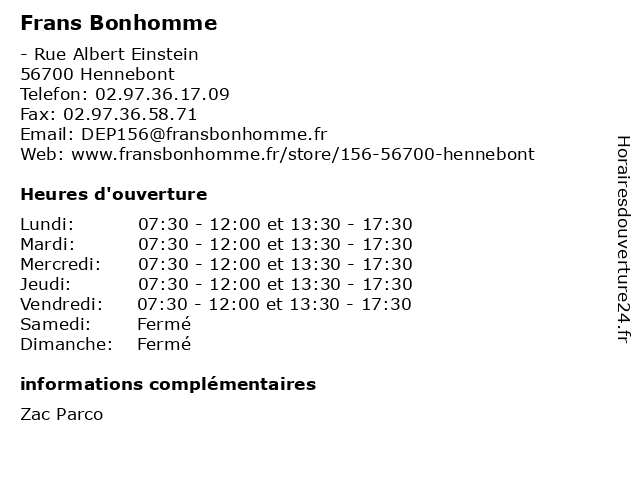 Frans Bonhomme à Hennebont: adresse et heures d'ouverture