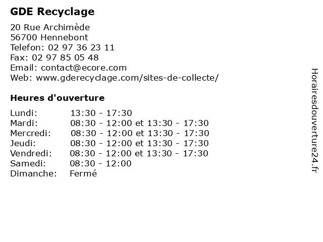 GDE Recyclage à Hennebont: adresse et heures d'ouverture