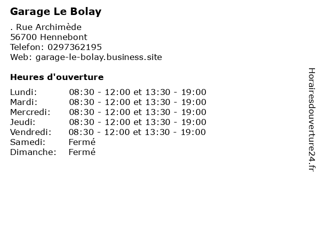 Garage Le Bolay à Hennebont: adresse et heures d'ouverture