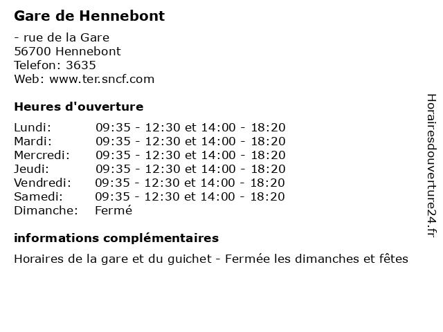 Gare de Hennebont à Hennebont: adresse et heures d'ouverture