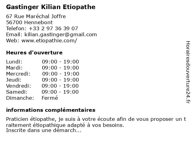 Gastinger Kilian à Hennebont: adresse et heures d'ouverture