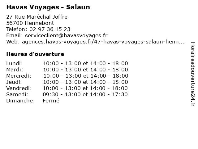 Havas Voyages à Hennebont: adresse et heures d'ouverture