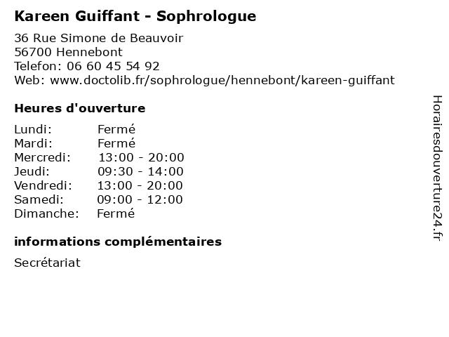 Kareen Guiffant - Sophrologue à Hennebont: adresse et heures d'ouverture