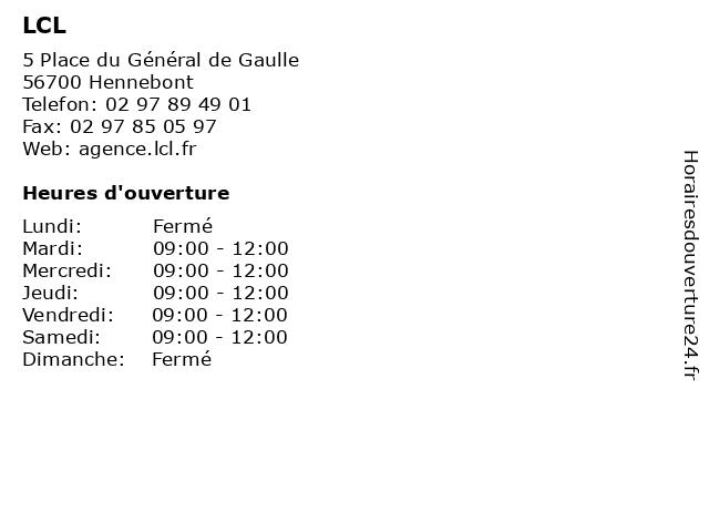 LCL à Hennebont: adresse et heures d'ouverture