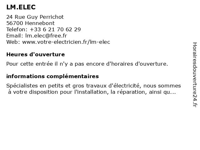 LM.ELEC à Hennebont: adresse et heures d'ouverture