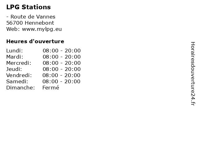 LPG Stations à Hennebont: adresse et heures d'ouverture