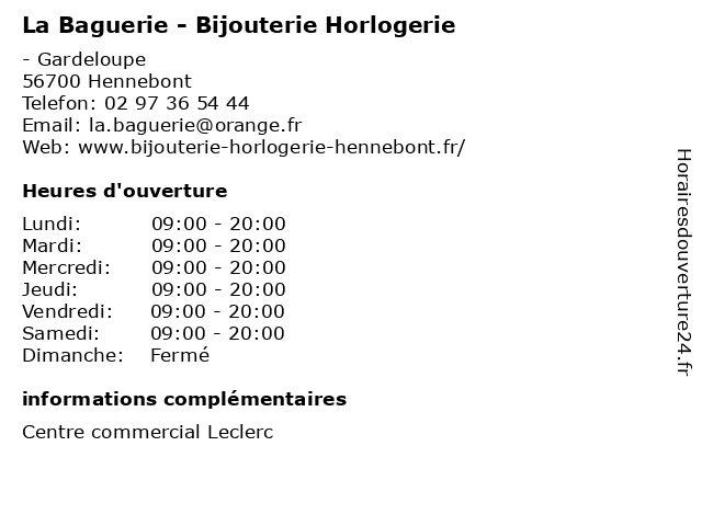 La Baguerie - Bijouterie Horlogerie à Hennebont: adresse et heures d'ouverture