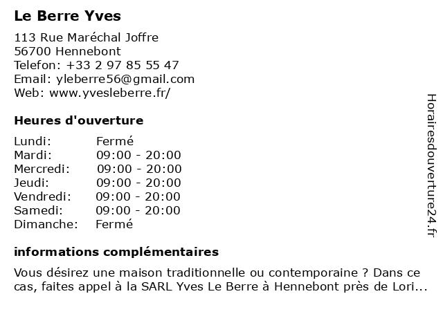 Le Berre Yves à Hennebont: adresse et heures d'ouverture