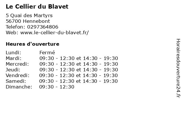 Le Cellier du Blavet à Hennebont: adresse et heures d'ouverture