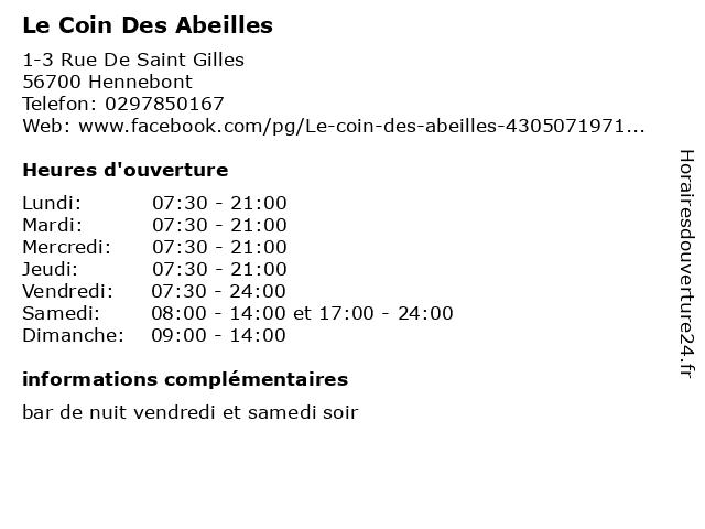 Le Coin Des Abeilles à Hennebont: adresse et heures d'ouverture