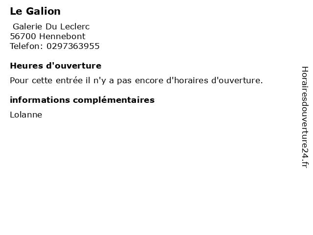Le Galion à Hennebont: adresse et heures d'ouverture