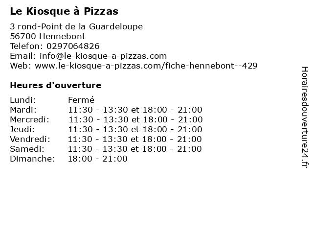 Le Kiosque a Pizzas à Hennebont: adresse et heures d'ouverture