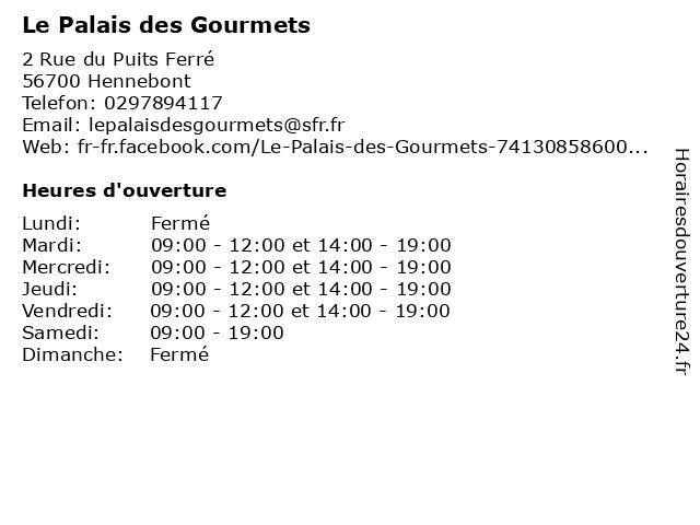 Le Palais des Gourmets à Hennebont: adresse et heures d'ouverture
