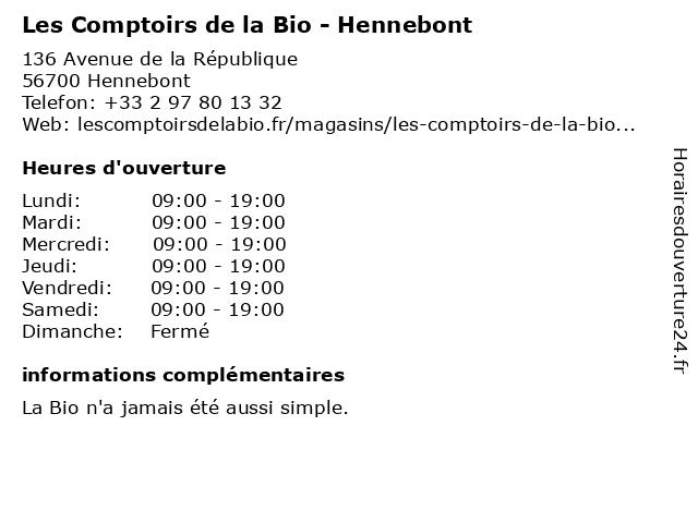 Les Comptoirs de la Bio - Hennebont à Hennebont: adresse et heures d'ouverture