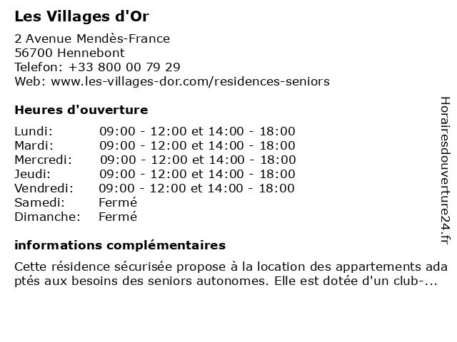 Les Villages d'Or à Hennebont: adresse et heures d'ouverture