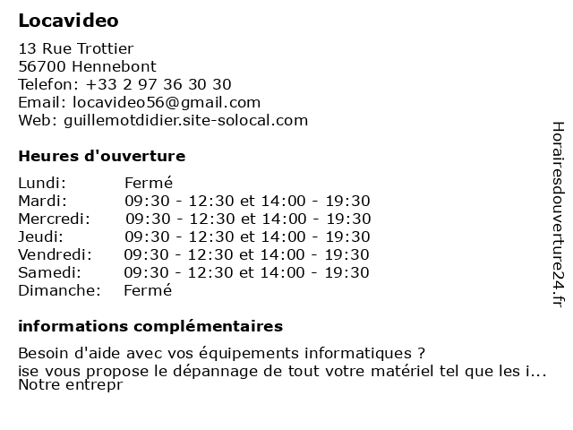 Locavideo à Hennebont: adresse et heures d'ouverture