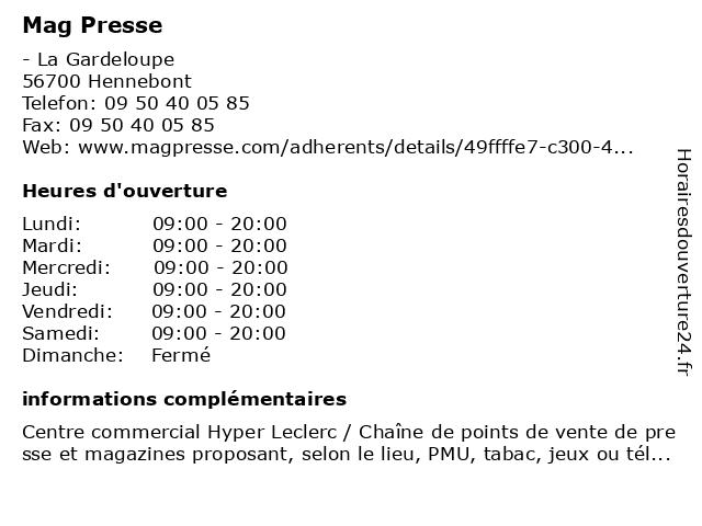 Mag Presse à Hennebont: adresse et heures d'ouverture