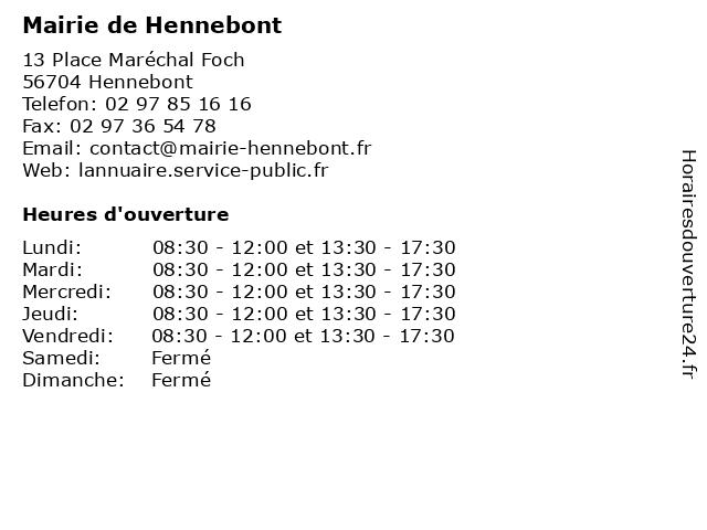 Mairie de Hennebont à Hennebont: adresse et heures d'ouverture
