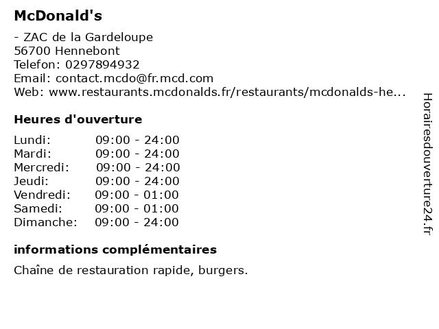McDonald's - restaurant à Hennebont: adresse et heures d'ouverture