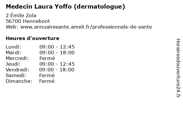 Medecin Laura Yoffo (dermatologue) à Hennebont: adresse et heures d'ouverture
