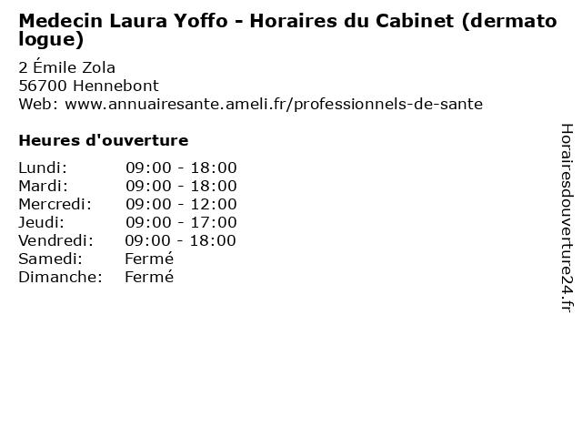 Medecin Laura Yoffo - Horaires du Cabinet (dermatologue) à Hennebont: adresse et heures d'ouverture