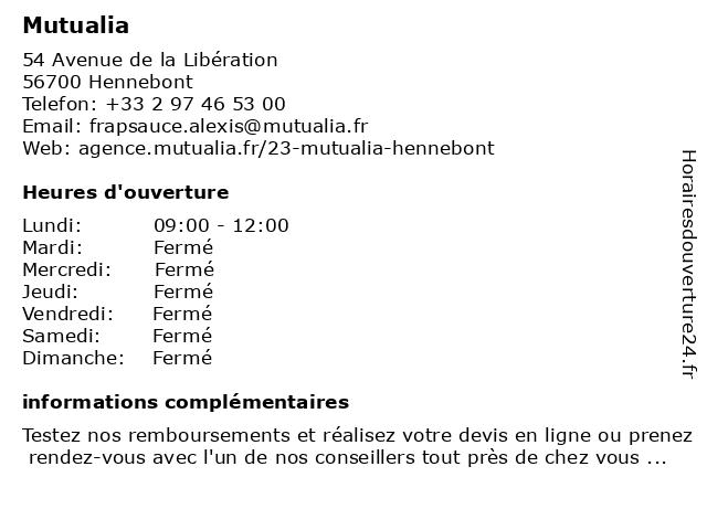 Mutualia à Hennebont: adresse et heures d'ouverture