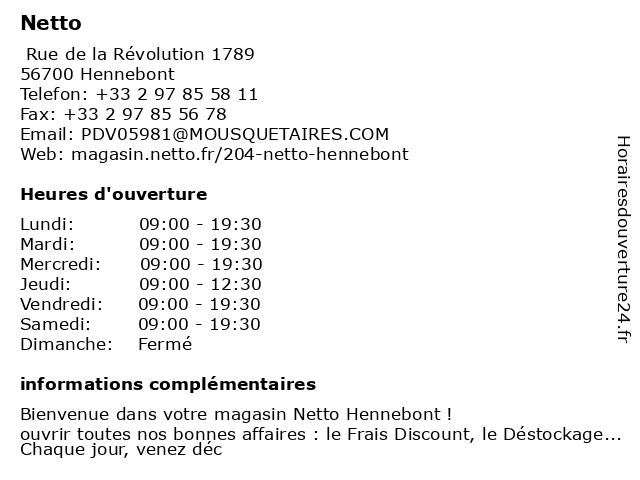 Netto à Hennebont: adresse et heures d'ouverture