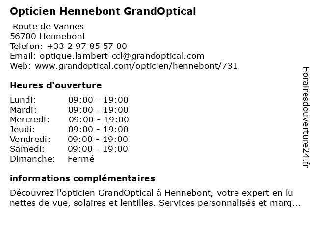 Opticien GrandOptical à Hennebont: adresse et heures d'ouverture