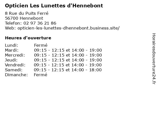 Opticien Les Lunettes d'Hennebont à Hennebont: adresse et heures d'ouverture