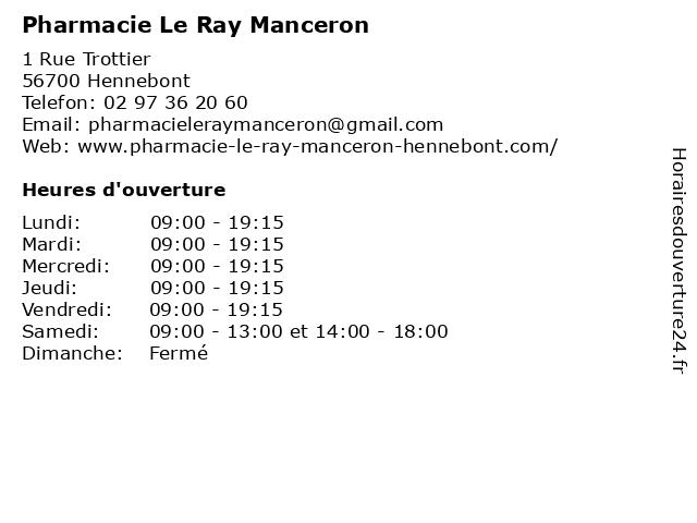 Pharmacie Le Ray Manceron à Hennebont: adresse et heures d'ouverture