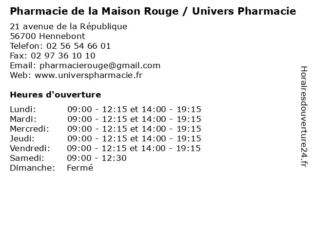 Pharmacie de la Maison Rouge / Univers Pharmacie à Hennebont: adresse et heures d'ouverture
