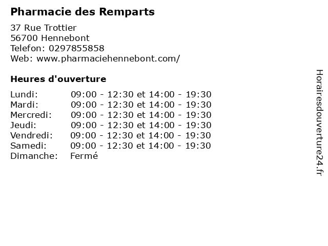 Pharmacie des Remparts à Hennebont: adresse et heures d'ouverture