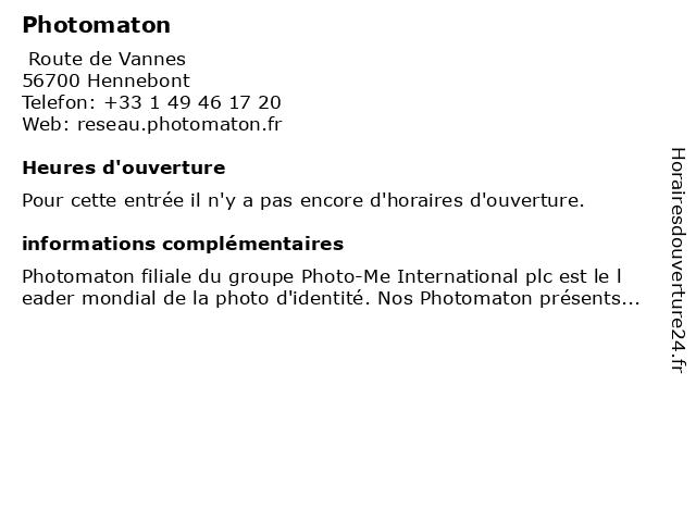 Photomaton à Hennebont: adresse et heures d'ouverture