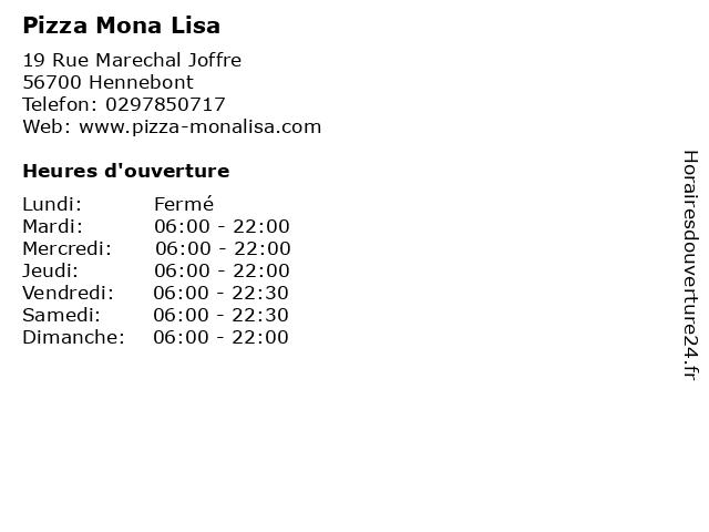 Pizza Mona Lisa à Hennebont: adresse et heures d'ouverture