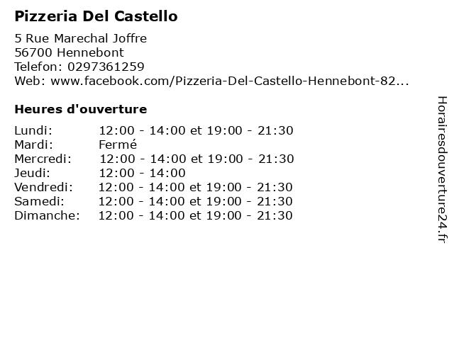Pizzeria Del Castello à Hennebont: adresse et heures d'ouverture
