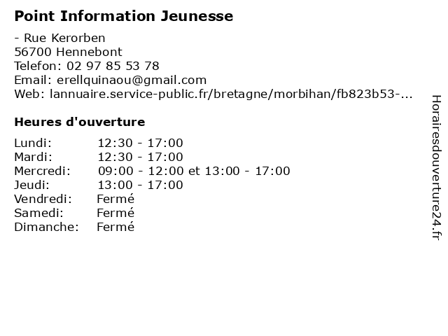 Point Information Jeunesse à Hennebont: adresse et heures d'ouverture