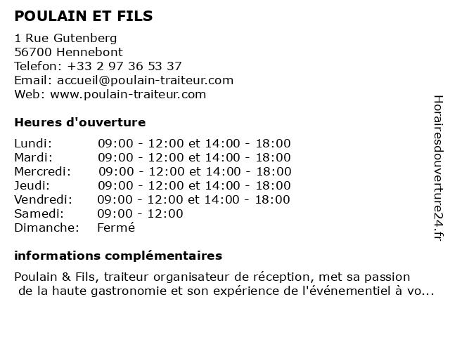 Poulain & Fils Traiteur à Hennebont: adresse et heures d'ouverture