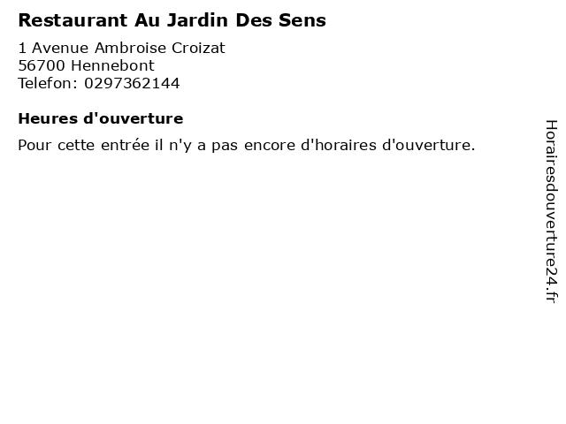 Restaurant Au Jardin Des Sens à Hennebont: adresse et heures d'ouverture