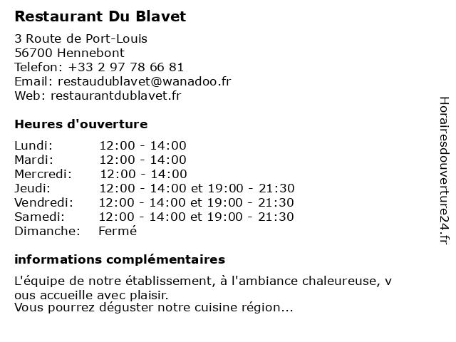 Restaurant Du Blavet à Hennebont: adresse et heures d'ouverture