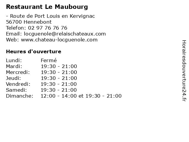 Restaurant Le Maubourg à Hennebont: adresse et heures d'ouverture