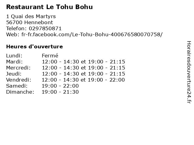 Restaurant Le Tohu Bohu à Hennebont: adresse et heures d'ouverture