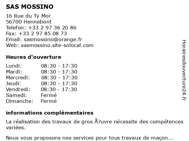 SAS MOSSINO à Hennebont: adresse et heures d'ouverture