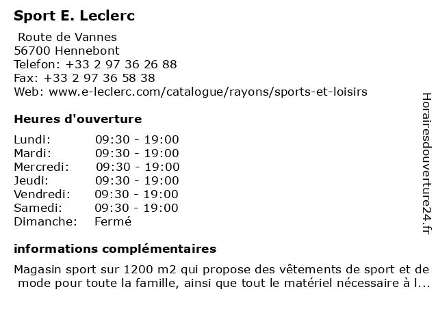 Sport E. Leclerc à Hennebont: adresse et heures d'ouverture