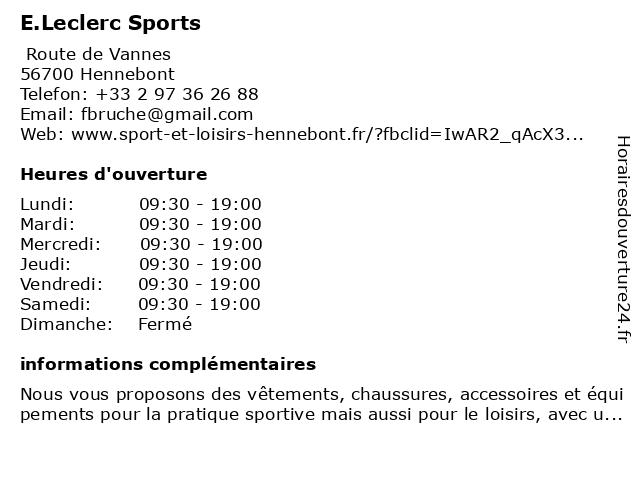 Sport E.Leclerc Hennebont à Hennebont: adresse et heures d'ouverture
