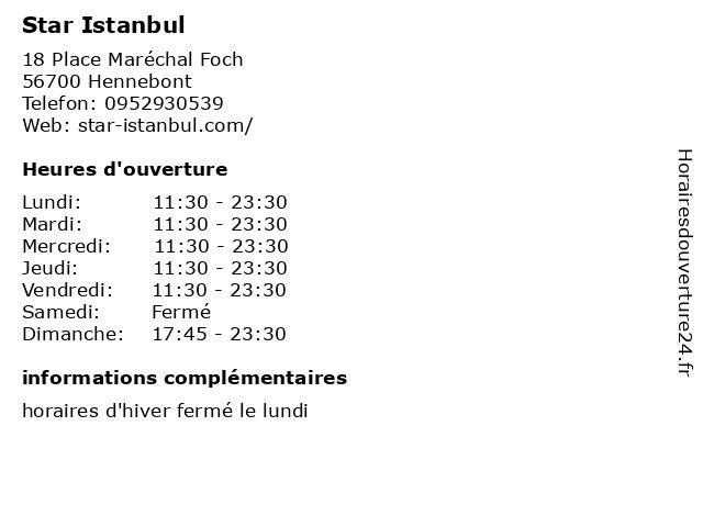 Star Istanbul à Hennebont: adresse et heures d'ouverture