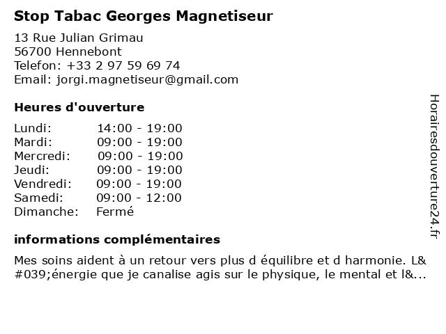 Stop Tabac Georges Magnetiseur à Hennebont: adresse et heures d'ouverture