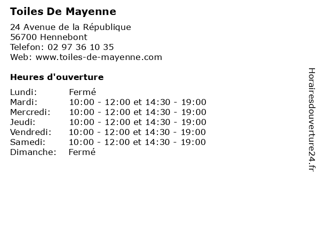 Toiles De Mayenne à Hennebont: adresse et heures d'ouverture