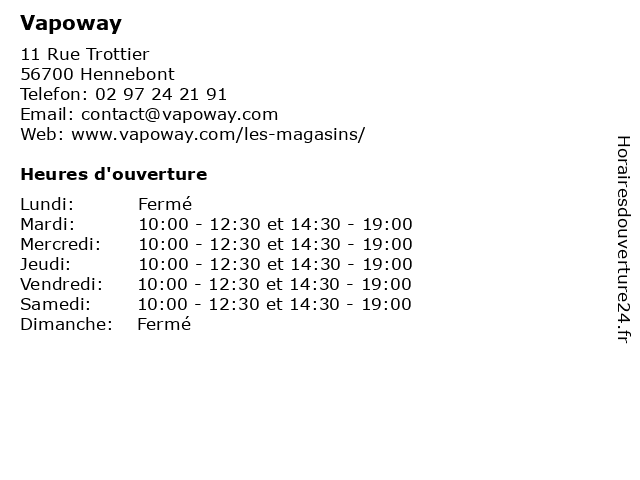 Vapoway à Hennebont: adresse et heures d'ouverture