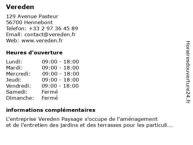 Vereden à Hennebont: adresse et heures d'ouverture